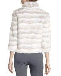 Tahari - White Faux-chinchilla-fur Coat - Lyst