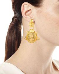 Oscar de la Renta - Metallic Small Scarab Clip-on Earrings - Lyst