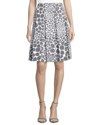 Michael Kors - Multicolor Animal-print Pleated Skirt - Lyst