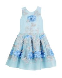 Zoe - Blue Perforated Mesh Flower-embroidered Dress - Lyst