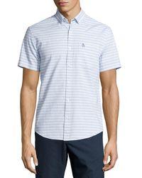Original Penguin | White Horizontal-stripe Short-sleeve Sport Shirt for Men | Lyst