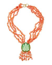 Kenneth Jay Lane | Pink Multi-strand Coral-beaded Statement Necklace | Lyst
