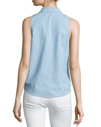 Equipment - Blue Mina Chambray Tie-front Sleeveless Blouse - Lyst
