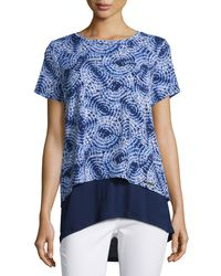 MICHAEL Michael Kors | White Short-sleeve Printed Layered Top | Lyst