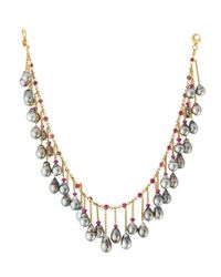 Assael - Metallic 18k Tahitian Pearl & Ruby Fringe Necklace - Lyst