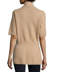 Neiman Marcus   Natural Cashmere Basketweave Toggle-front Cardigan   Lyst