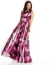 ML Monique Lhuillier - Purple One-shoulder Floral-print Gown - Lyst
