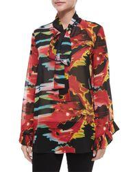 Just Cavalli | Black Neck-tie Printed Blouse | Lyst
