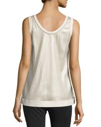 Brunello Cucinelli - Natural Layered Mesh Sleeveless Top - Lyst