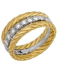 Buccellati - Multicolor Estate 18k Diamond Triple-band Ring - Lyst