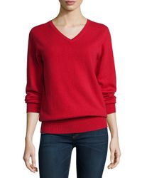 Neiman Marcus - Red Long-sleeve V-neck Relaxed-fit Cashmere Sweater - Lyst