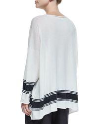 Eskandar - Gray Ribbon-striped Cashmere A-line Sweater - Lyst