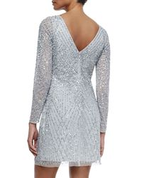 Aidan Mattox - Gray Embellished Long-sleeve Boatneck Cocktail Dress - Lyst