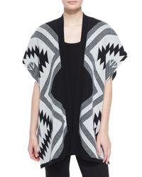 Neiman Marcus - Black -print Intarsia Cashmere Shawl - Lyst