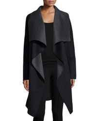 Diane von Furstenberg - Black Marilyn Two-tone Wool-blend Wrap Coat - Lyst