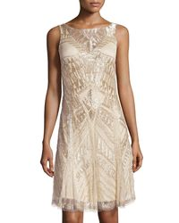 THEIA | Green Sleeveless Deco Beaded Cocktail Dress | Lyst