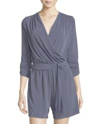 Tahari - Blue Willa Belted 3/4-sleeve Short Jumpsuit - Lyst