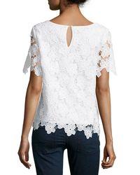 Catherine Malandrino - White Ruffle-trim Cotton-blend Top - Lyst