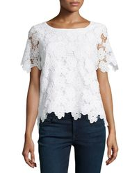 Catherine Malandrino - White Ruffle-trim Cotton-blend Top - Lyst