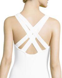 Michael Kors - White Crisscross Back Tank Bodysuit - Lyst