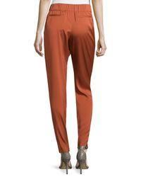 Halston - Red Smocked-waist Silk Twill Pants - Lyst