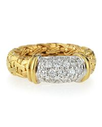Roberto Coin | Metallic 18k Gold Woven Pavé Diamond Ring | Lyst