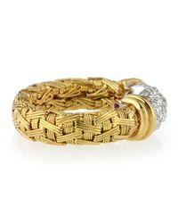 Roberto Coin | Metallic 18k Gold Woven Pavé Diamond Ring | Lyst