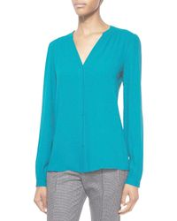 Michael Kors - Blue Split-neck Long-sleeve Blouse - Lyst