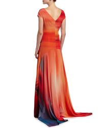 Zac Zac Posen - Red Miriam Short-sleeve Ombre-print Handkerchief Gown - Lyst