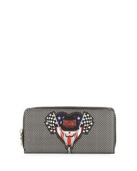 Love Moschino - Black Racing Flags Zip-around Saffiano Faux-leather Wallet - Lyst