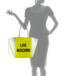 Love Moschino - Yellow Saffiano Leather Tote Bag - Lyst