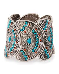 Lydell NYC - Metallic Silvertone Faux Turquoise & Carnelian Stretch Cuff Bracelet - Lyst