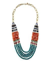 Lydell NYC - Multicolor Long Five-strand Beaded Statement Necklace - Lyst
