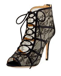 Badgley Mischka | Black Sherry Lace Lace-up Bootie | Lyst