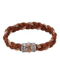 John Hardy | Brown Men's Bronze Classic Chain Woven Leather Bracelet for Men | Lyst