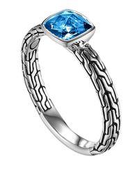 John Hardy | Metallic Batu Classic Chain Small Blue Topaz Ring | Lyst
