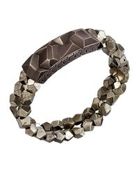 John Hardy - Brown Men's Classic Chain Oxidized Station Bracelet W/ Pyrite Strap for Men - Lyst
