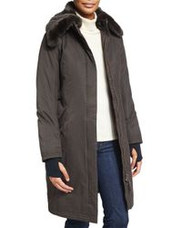 Nobis | Gray Lady Taylor Coat With Removable Fur Collar | Lyst
