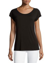 MICHAEL Michael Kors | Black Mesh-yoke Short-sleeve Top | Lyst