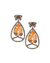 Bavna - Metallic Carnelian & Pave Diamond Butterfly Drop Earrings - Lyst