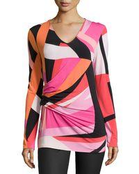 Natori - Multicolor Dao Geo-printed Long-sleeve Top - Lyst