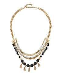 Lydell NYC | Black Golden Mixed-media Layered Bib Necklace | Lyst
