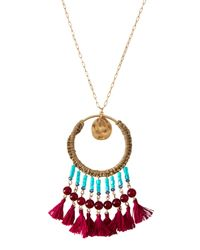 Lydell NYC - Blue Long Chain Necklace W/ Beaded Tassel Circle Pendant - Lyst