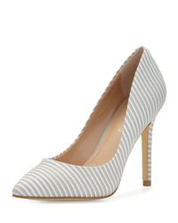 Charles by Charles David - Gray Pact Striped Leather Pointed-toe Pump - Lyst