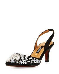 Neiman Marcus - Black Fairle Embellished Slingback Pump - Lyst