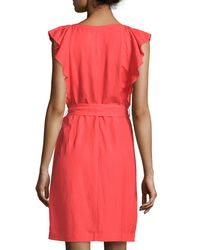 Carmen By Carmen Marc Valvo - Pink Ruffle-sleeve Linen-blend A-line Dress - Lyst