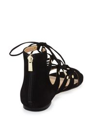 Ivanka Trump - Black Callie Suede Lace-up Sandal - Lyst
