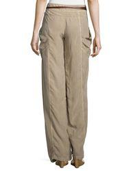 Kaufman Franco - Natural Wide-leg Wrap Pants - Lyst
