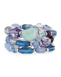 Fragments - Blue Stone & Crystal Beaded Stretch Bracelet Set - Lyst