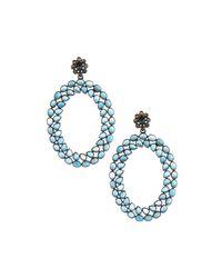 Bavna | London Blue Topaz & Champagne Diamond Oval Drop Earrings | Lyst